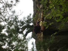 Rock Climbing Photo: Looking for holds on possible extension. Yes, foun...
