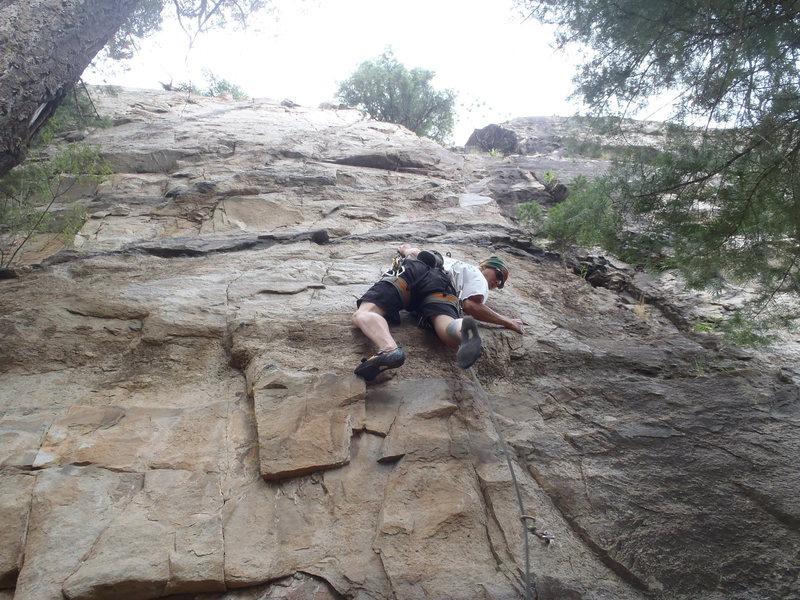 Rock Climbing Photo: Earl starting up Romnesia.
