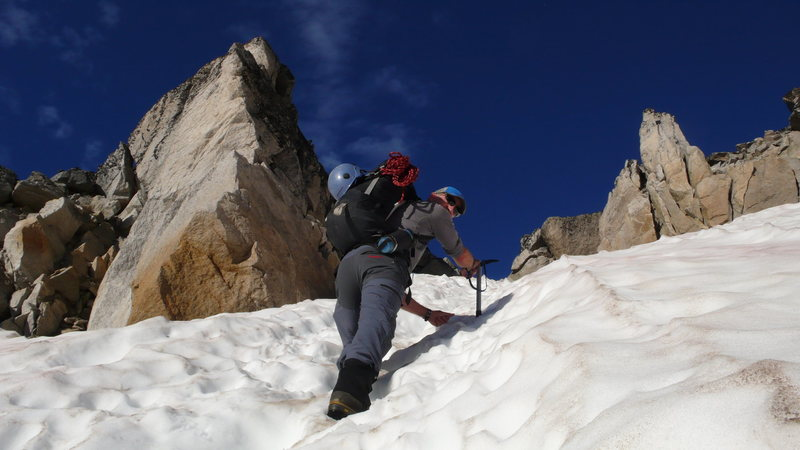 Climbing the Bugaboo-Snowpatch Col, good snow conditions, July 22, 2013.