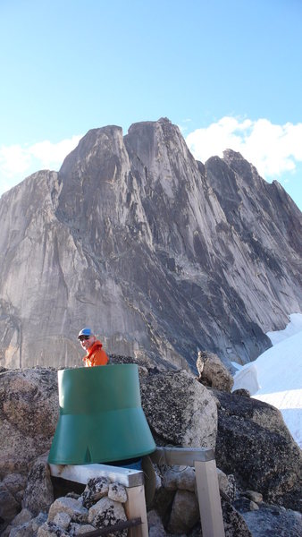 Poo with a view! Bugaboo-Snowpatch Col, July 2013.