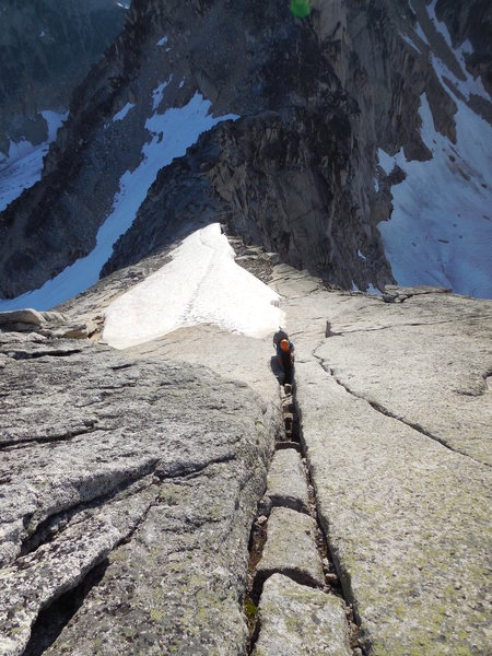 NE Ridge Bugaboo Spire, 7/24/13. Upper section of the 4th class approach.