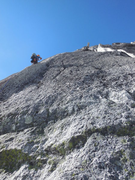 Third pitch, NE Ridge Bugaboo Spire, 7/24/13.  Typical of the stellar granite and great climbing on the entire route.