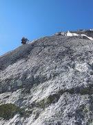 Rock Climbing Photo: Third pitch, NE Ridge Bugaboo Spire, 7/24/13.  Typ...