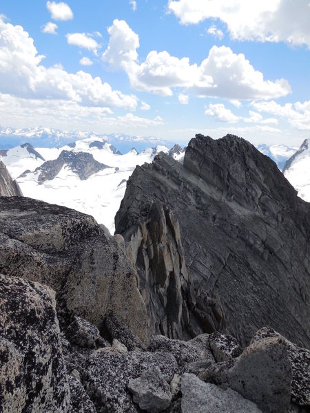 NE Ridge Bugaboo Spire. The traverse from the North Summit to the South Summit. 4th and low 5th class with Uber-Exposure!