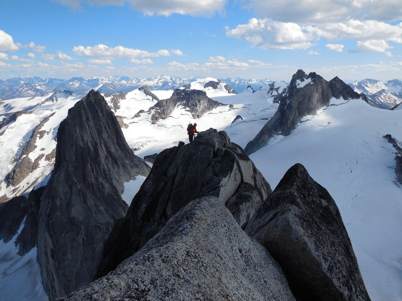 Down-climbing the Kain Route on the Grand Traverse of Bugaboo Spire, 7/24/13.  West face of Snowpatch on left and Pigeon on right in background.