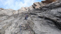 Rock Climbing Photo: Second pitch of Surf's Up. Headed up and right, st...