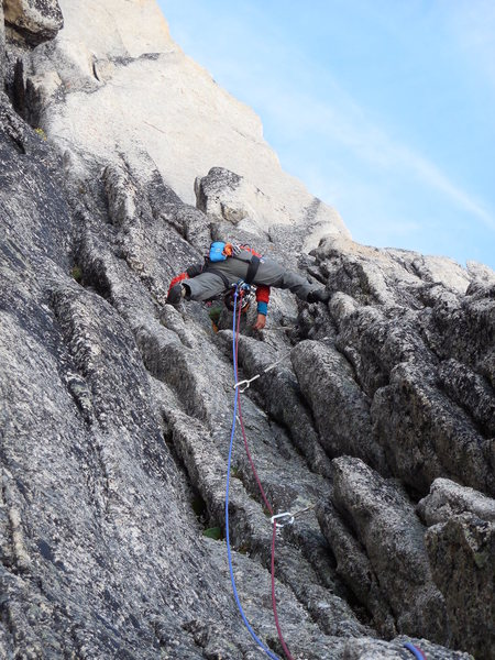 Rock Climbing Photo: Surf's Up - west face of Snowpatch Spire.  Isak he...