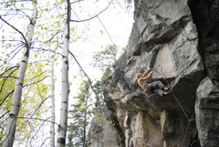 Rock Climbing Photo: Working the moves after bolting this little beast.