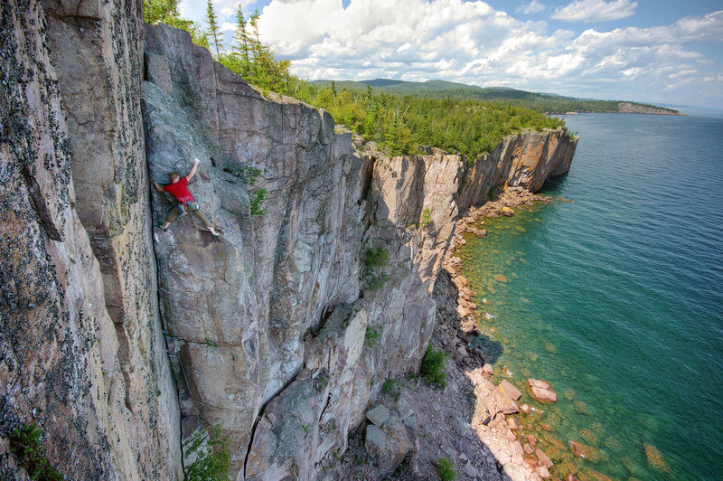 Rock Climbing Photo: Minnesota: Climbing with a view.