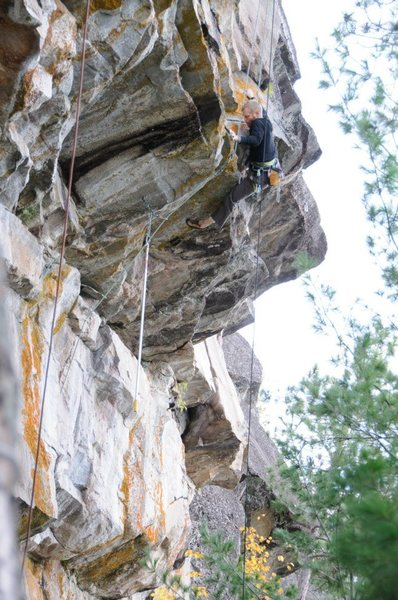 Pulling the crux moves of Lakota Son Extension. It goes!