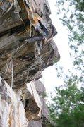 Rock Climbing Photo: Pulling crux moves of Lakota Sun Extension.