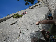 Rock Climbing Photo: Belayer, Ben, at the top of P1, with the climber, ...