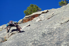 Rock Climbing Photo: Ben leading P3 (a bit run out).  He'll head-up dia...