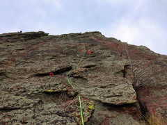 Rock Climbing Photo: Rope is closer to the right than left leg of the r...