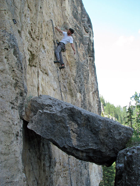 Dan relaxing, well below that final ledge that takes you to the crux then onto the anchors