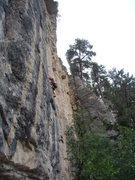 Rock Climbing Photo: Reggie going after Armageddon, 5.12a