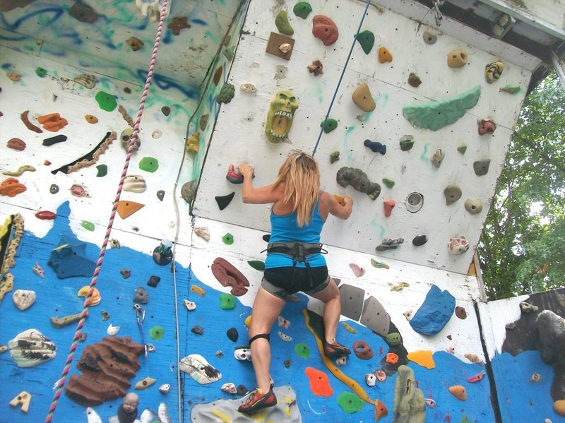 Rock Climbing Photo: Cindy heading for steep finish.