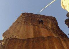 Rock Climbing Photo: Top rope climb up Tanks for the Hueco.