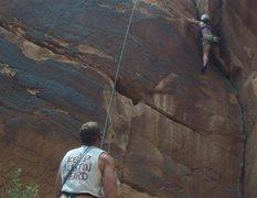 Rock Climbing Photo: Top rope climb up Campground Crack.