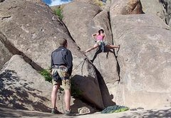 Rock Climbing Photo: Figuring out how to get on the climb.