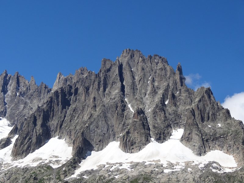 """The classic Mer de Glace face of Aiguille du Grepon (not the """"petit"""" one in CO). You can see the Envers hut just left of center on the lower rock rib."""