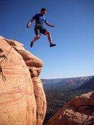 Rock Climbing Photo: Matt Pickren making the jump.