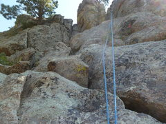 Rock Climbing Photo: The upper slab section below the anchor.