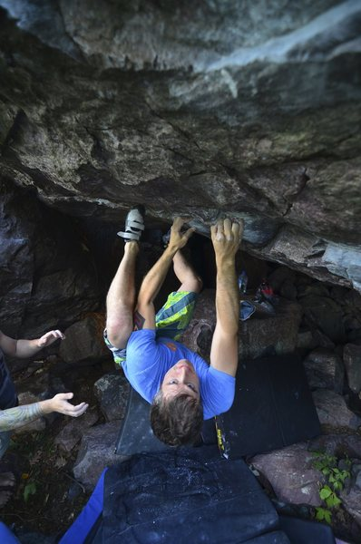 Rock Climbing Photo: Aaron at the start of Power Bottom.
