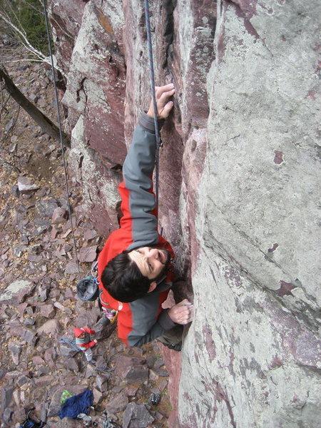 Rock Climbing Photo: On the crux.  c. 2008
