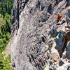 Looking back on the 5th belay from the end of pitch 6.  Airy!