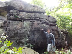 Rock Climbing Photo: Fairly large Gritstone in the woods out side of So...