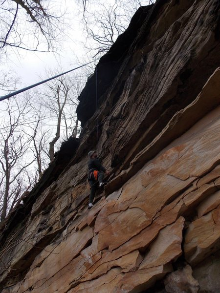 Rock Climbing Photo: Highest part of the wall at Flood Rocks.  Interest...