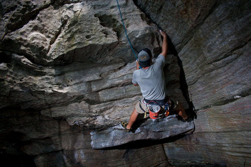 Rock Climbing Photo: Trey moving through the overhung start.
