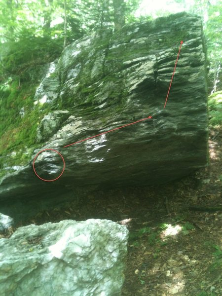 One Drop, as seen from slightly uphill and right of the One Drop boulder.