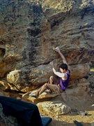 Rock Climbing Photo: Reaching into the dish.