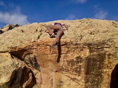 Rock Climbing Photo: Donkey kicking my way over the lip.