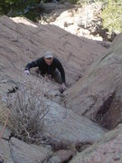 Rock Climbing Photo: Ken Trout nearing the end of the second pitch.