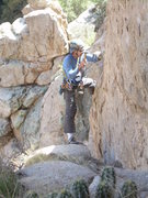 Rock Climbing Photo: Jeff M. fixing up the rap anchor on the back. Sing...