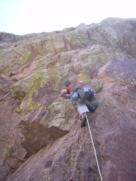 Rock Climbing Photo: Wyatt starting the tricky first pitch.