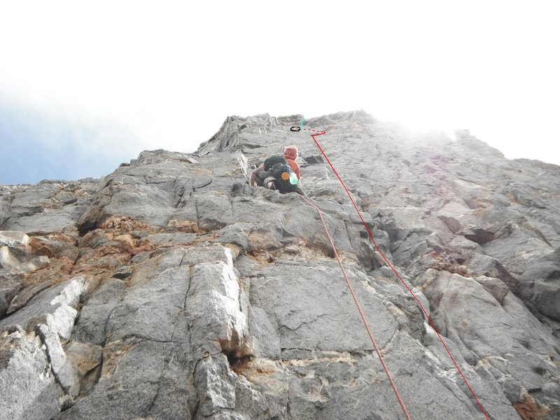 Rock Climbing Photo: Dark Star Start of Pitch 10.  David Gerwe is leadi...