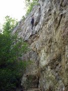 Rock Climbing Photo: Getting into the crux on Sobriety. Lower grade cli...