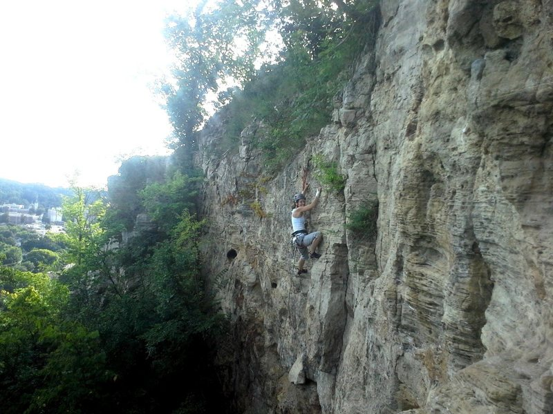 Rock Climbing Photo: Angie finishing Sobriety. A climb worth keeping cl...
