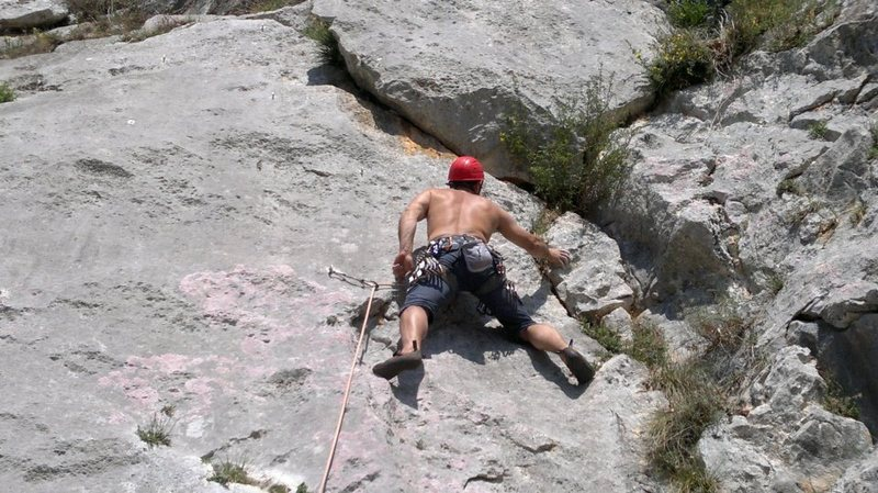 70 feet, 5.9. Good Limestone.Dirty but fun route!!!