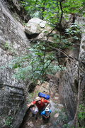 Rock Climbing Photo: Looking down the last boulder that you have to cra...