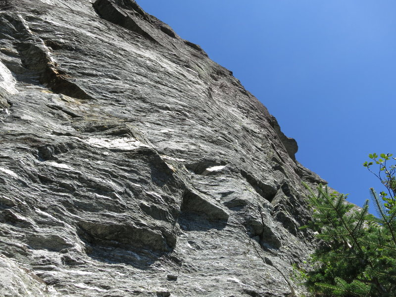 "The ""Hummingbird Crack"" is on the right side of the cliff above the vegetation. Not sure how useful this photo really is."