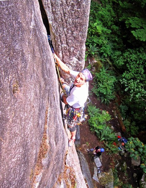 Nice hand jams and footholds near the bottom of Wet Dream (5.9).