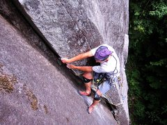 Rock Climbing Photo: It is easier to layback the top section, though on...