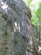 Rock Climbing Photo: ? is the route in blue. The black one is Blockade,...