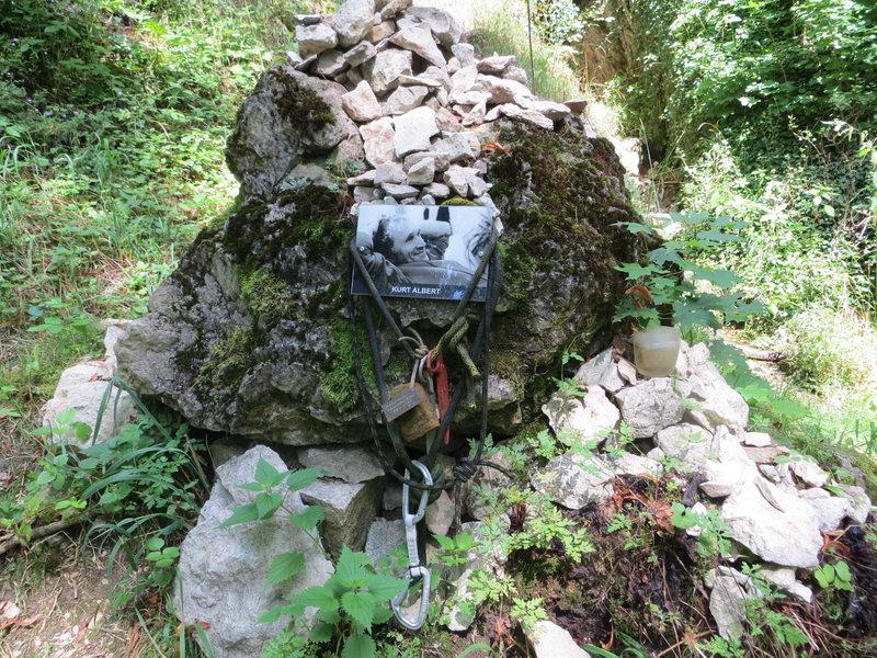 Rock Climbing Photo: The Kurt Albert memorial at the base of the crag.