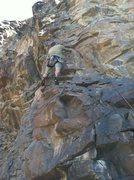 "Rock Climbing Photo: Peter starting up ""City Girl""."